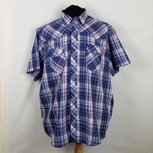 Wrangler XXL Pearl Snap Button Down Short Sleeve